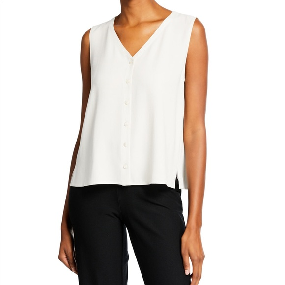 267ab168d956f6 Eileen Fisher Vneck button front sleeveless shell
